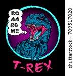 Dinosaur Tyrannosaur In Circle...