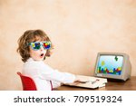 child pretend to be businessman.... | Shutterstock . vector #709519324