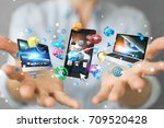 tech devices connected to each... | Shutterstock . vector #709520428