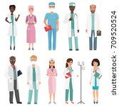 doctors  nurses and medical... | Shutterstock .eps vector #709520524