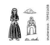 day of the dead  dia de los... | Shutterstock .eps vector #709521658