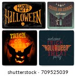 halloween posters or flyers set.... | Shutterstock .eps vector #709525039