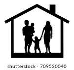 family silhouette house | Shutterstock .eps vector #709530040