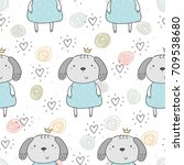 seamless pattern with cute... | Shutterstock .eps vector #709538680
