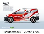 commercial vehicle van template.... | Shutterstock .eps vector #709541728