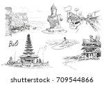 hand drawn bali landmarks set.... | Shutterstock .eps vector #709544866