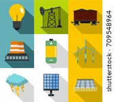 Stock vector energy sources icon set flat style set of energy sources vector icons for web design 709548964