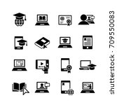 e learning 16 simple icons set... | Shutterstock .eps vector #709550083