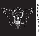 white light bulb with wings... | Shutterstock .eps vector #709550530