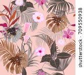 vector seamless beautiful... | Shutterstock .eps vector #709550938