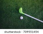 cute toy golf ball and putter... | Shutterstock . vector #709551454