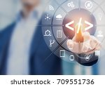 coding concept with software... | Shutterstock . vector #709551736