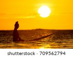 girl surfer waiting for a wave... | Shutterstock . vector #709562794