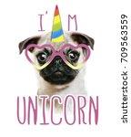 Stock photo illustration of a hand drawn funny fashionable pug and unicorn 709563559