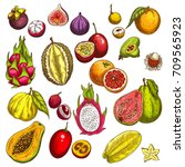 exotic tropical fruits sketch... | Shutterstock .eps vector #709565923