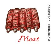 meat sketch icon of mutton or... | Shutterstock .eps vector #709565980
