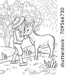 a coloring page book for... | Shutterstock .eps vector #709566730
