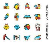 kindergarten icons | Shutterstock .eps vector #709566988
