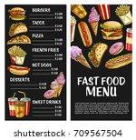fast food menu template. vector ...   Shutterstock .eps vector #709567504