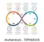 process diagram with eight... | Shutterstock .eps vector #709568143