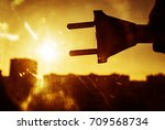 sun energy with plug connection ...   Shutterstock . vector #709568734