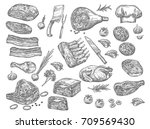 meat sketch icons set for...   Shutterstock .eps vector #709569430
