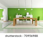 modern dining room with wooden... | Shutterstock . vector #70956988