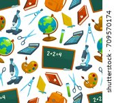 back to school seamless pattern ... | Shutterstock .eps vector #709570174