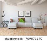 white room interior. 3d...   Shutterstock . vector #709571170