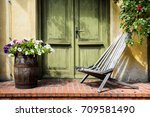 old fashioned porch decorated... | Shutterstock . vector #709581490