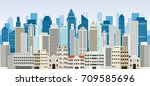 buildings and skyscrapers... | Shutterstock .eps vector #709585696