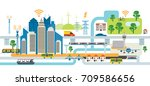 smart city infrastructure  ... | Shutterstock .eps vector #709586656