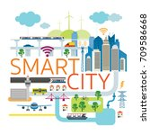 smart city infrastructure  ... | Shutterstock .eps vector #709586668