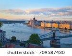 panoramic sunset view of... | Shutterstock . vector #709587430