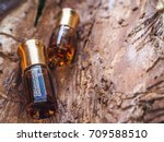 bottle of oil agarwood tree... | Shutterstock . vector #709588510