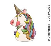 unicorn character head portrait ... | Shutterstock .eps vector #709591018
