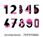 set of digits. trendy geometric ... | Shutterstock .eps vector #709593886