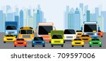 vehicles on road with traffic... | Shutterstock .eps vector #709597006