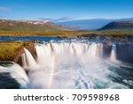 godafoss waterfall and rainbow. ... | Shutterstock . vector #709598968
