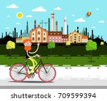 vector landscape with factory.... | Shutterstock .eps vector #709599394
