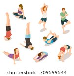 isometric people in yoga... | Shutterstock .eps vector #709599544