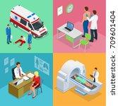 isometric paramedics ambulance... | Shutterstock . vector #709601404