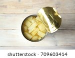 opened tin can of canned...   Shutterstock . vector #709603414