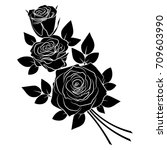 black silhouette roses and... | Shutterstock .eps vector #709603990