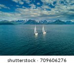 Aerial View Of Sailing Yacht In ...