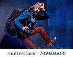 funny portrait of a skinny weak ... | Shutterstock . vector #709606600