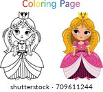 princess coloring page  vector... | Shutterstock .eps vector #709611244
