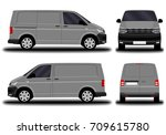 realistic cargo van. front view ... | Shutterstock .eps vector #709615780