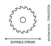 circular saw blade linear icon. ... | Shutterstock .eps vector #709620526