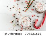 homemade peppermint mocha ... | Shutterstock . vector #709621693